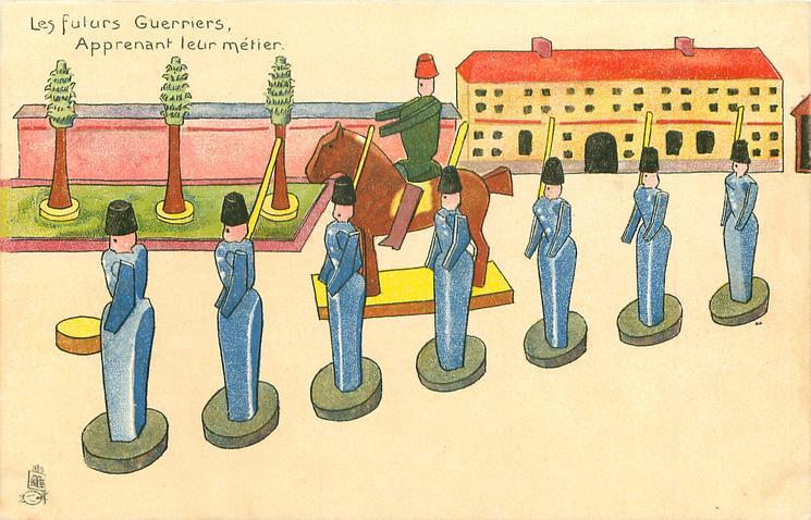 LES FUTURS GUERRIERS, APPRENANT LEUR METIER  seven wooden soldiers in blue, in front of horseman,  trees & building