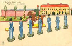 LES FUTURS GUERRIERS, APPRENANT LEUR METIER  seven wooden soldiers in blue, in front of horseman,  trees & building