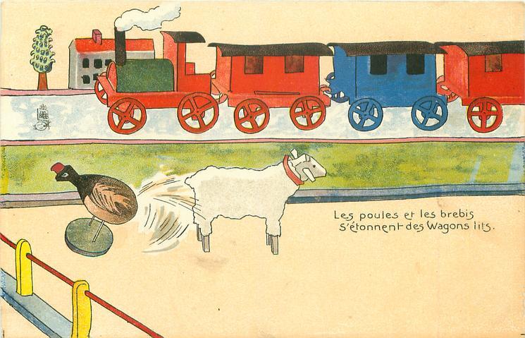LES POULES ET LES BREBIS S'ETONNENT DES WAGONS LITS  wooden train behind, wooden lamb & chicken in front