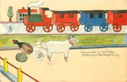 LES POULES ET LES BREBIS S'ETONNENT DES WAGONS LITS  wooden train behind, wooden lamb & chicken in front