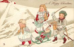 A HAPPY CHRISTMAS.  girl pullls sled with puppet on it, girl carrrying doll & boy riding stick horse accompany