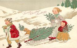 LOVING CHRISTMAS GREETINGS  boy pullls sled with tree on it, large & small girl follow, dachshund accompanies