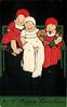 A HAPPY CHRISTMAS  three children sitting on bench, left and right in dressed in red, middle child in white, dachshund between them, black background