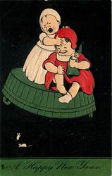 A HAPPY NEW YEAR, two children on upside down wash tub frightened by two mice, girl in white stands crying, black background
