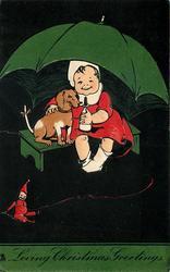 LOVING CHRISTMAS GREETINGS, child & dachshund sit under umbrella, black background