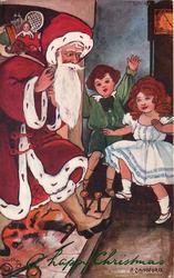Santa arriving down chimney
