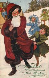 girl in green tugs at Santa's cloak, two more children run to catch up