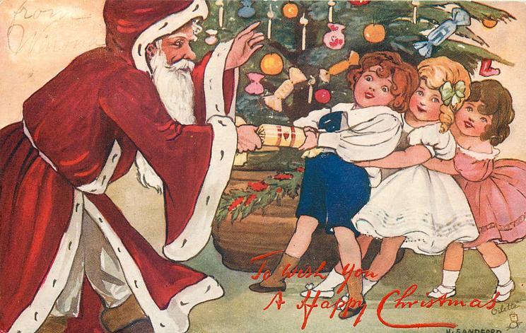 Santa pulls cracker with three children