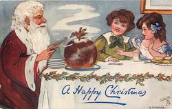 Santa seated at table with fork and knife ready to dig into christmas pudding, two children also at table