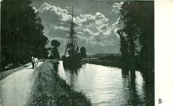 sailing ship, sails furled, on canal,  pulled by horse on path