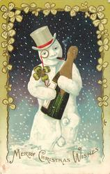 MERRY CHRISTMAS WISHES  snowman with top hat, eye glass & large bottle of champagne, snowing, fancy 4 leaf clover border
