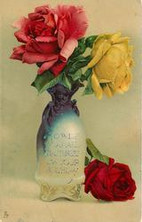 vase, blue at top, cream below with pink rose to left yellow to right, another red rose on table below