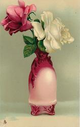 vase deep pink at top, cream below with two handles, pink rose left, white right