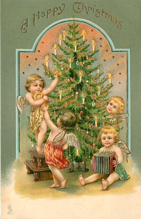 A HAPPY CHRISTMAS   four smalll angels around Xmas tree, one sits with a concertina