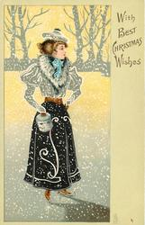 WITH BEST CHRISTMAS WISHES  woman on skates in snowstorm, white fur collar & purse