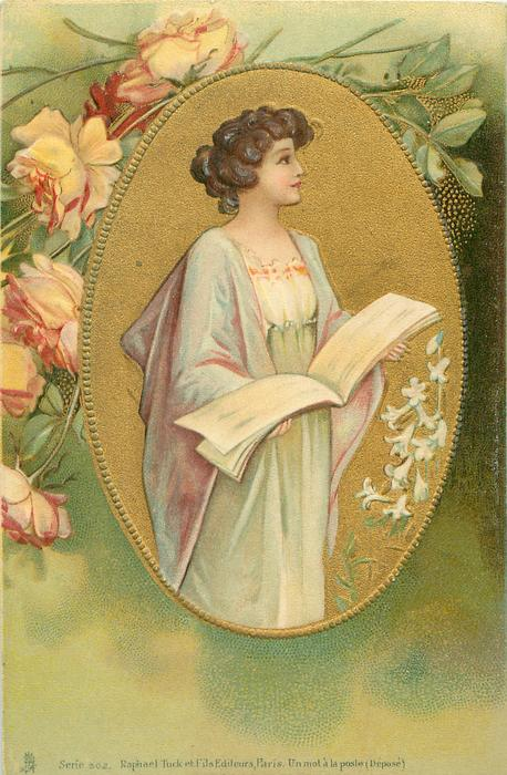 three quarter study of pretty girl wearing white/pale violet, facing mostly right, holding music book, in gilt oval with Easter lilies, roses above left