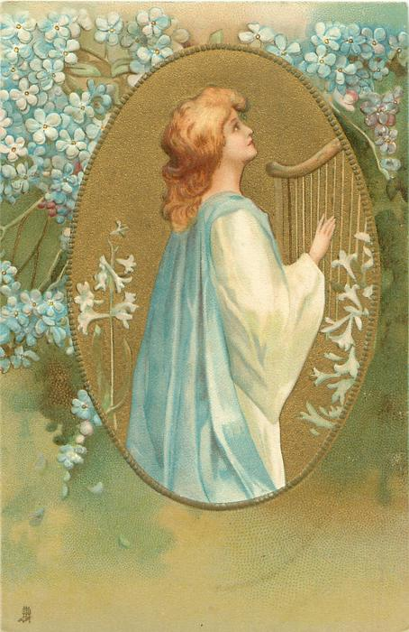 three quarter study of pretty girl in blue/white, facing right looking up, touching lyre, Easter lilies around in gilt oval, blue forget-me-nots above