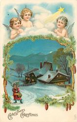 CHRISTMAS GREETINGS three angels at top in clouds above snow scene ,with lighted houses below, santa bottom left