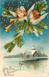 WITH BEST CHRISTMAS WISHES  heads of two angels playing pipes, evergreen, above lighted chuch below, water front water in front