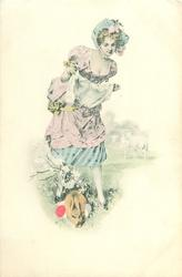 woman stands with flowers & pussy willow in lifted skirt. faces front, rabbit & eggs below left