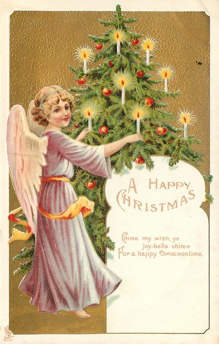 A HAPPY CHRISTMAS   angel in purple robe to left of Xmas tree