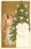 LOVING CHRISTMAS WISHES    angel in white robe to left of Xmas tree