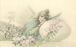 girl with bird wings to left of large egg , many roses around