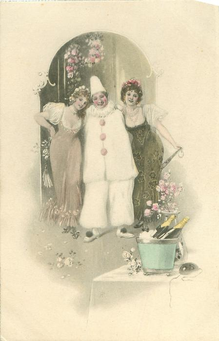 clown in white stands between two pretty pierrettes, champagne front right