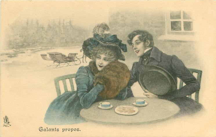 GALANTS PROPOS  snow scene, couple sit at table out-doors