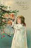 WITH BEST  CHRISTMAS WISHES  girl  in white dress holds doll with striped dress up to Xmas tree