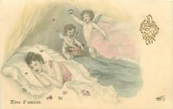 REVE D'AMOUR  girl lying in bed dreams of love, two cupids above