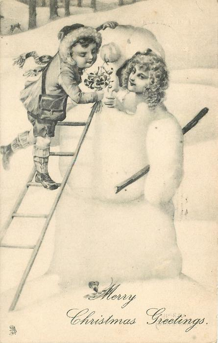 MERRY CHRISTMAS GREETINGS  child on ladder hands flowers to girl inside snowman