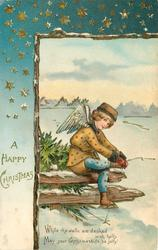 A HAPPY CHRISTMAS angel sitting on wood fencing, near icy pond, adjusts skate