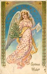 CHRISTMAS WISHES  angel in pink dress carries small Christmas tree in right hand, music in left