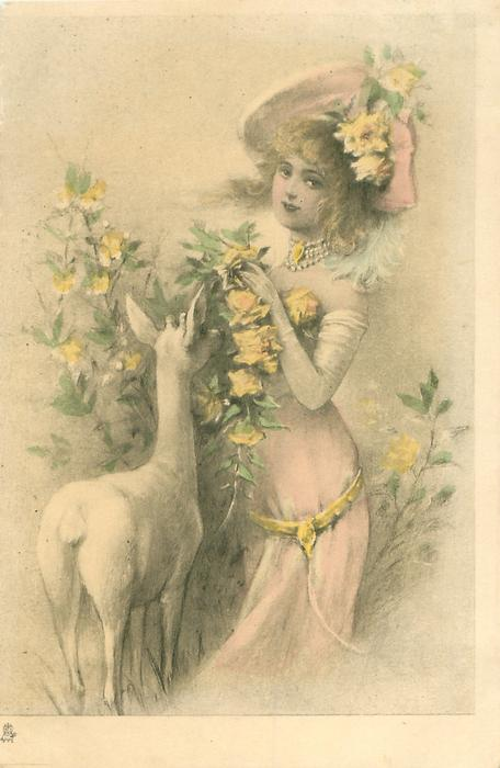 young woman facing left, looking front, holding flowery bush, deer left