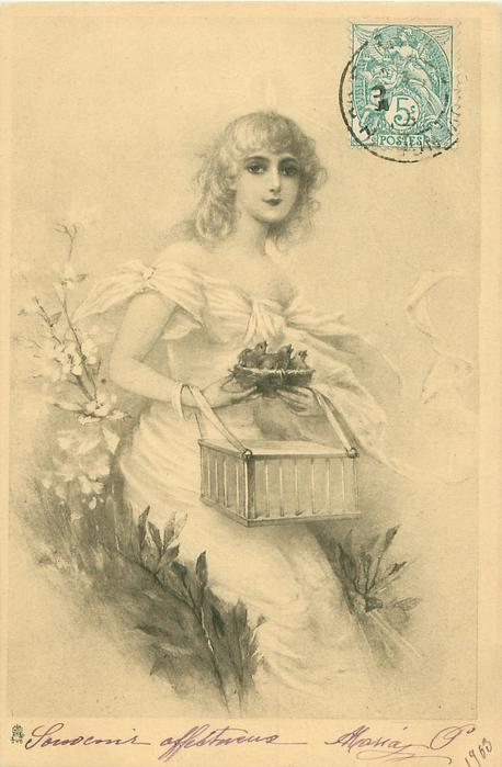 young woman seated facing slightly right, looking front, holding bird-cage on lap & basket of 3 hatchlings
