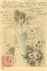 woman, parrot on right arm, facing away looking right at bird, peonies below
