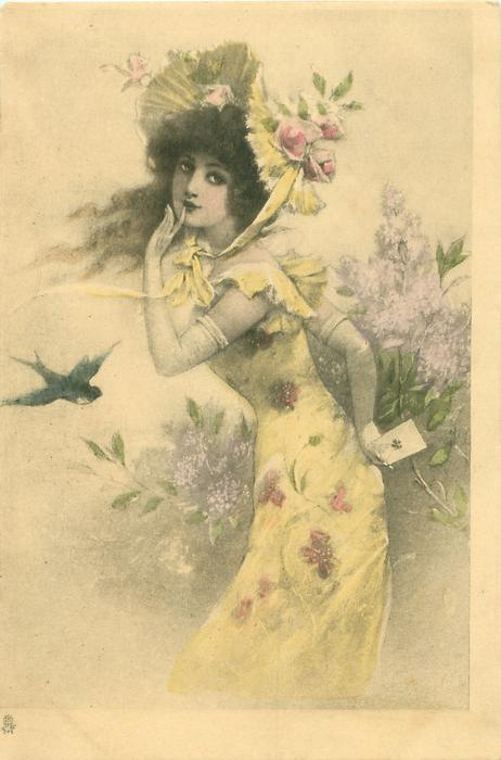 left hand raised, finger to lip, the other hand holds letter behind her, facing left, looking front, one swallow flies
