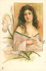 L'IRIS  young lady with low cut purple ornamented dress, long hair, faces slightly right, looks up to left