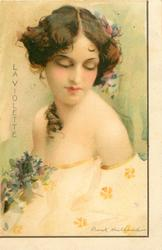 LA VIOLETTE  young lady with low cut white dress, ringlet of hair over right shoulder, eyes closed, floral corsage