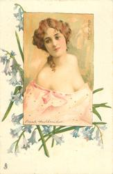 BELLE  inset young lady with low cut pink dress, faces slightly right, looks up to left, bluebells