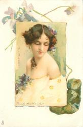 VIOLET  inset glamorous lady,violets in border