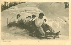 five man sleigh moves right, four men at back lean away