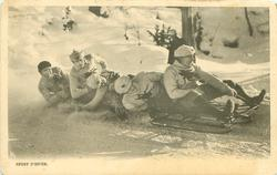 five man sleigh moves right, four men at back lean to front of card
