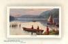 WINDERMERE  boat close to land,woman watches,sail boat behind