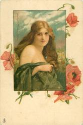 LE COQUELICOT  young lady with green wrap, shoulders showing and long hanging brown hair