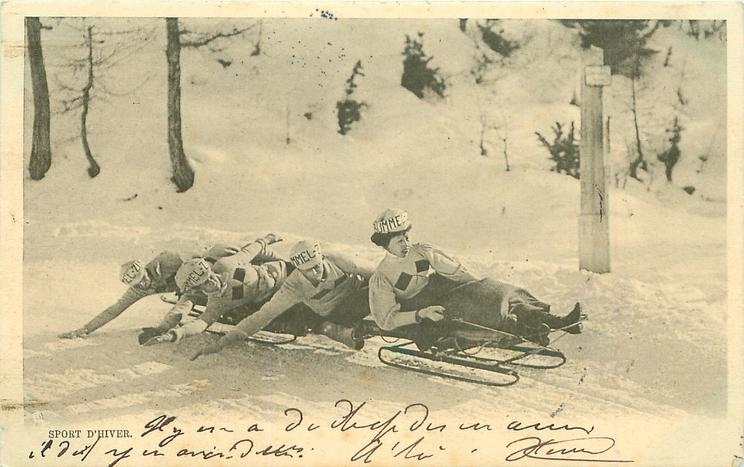 five person sleigh moves right, three men at back lean front, woman steers