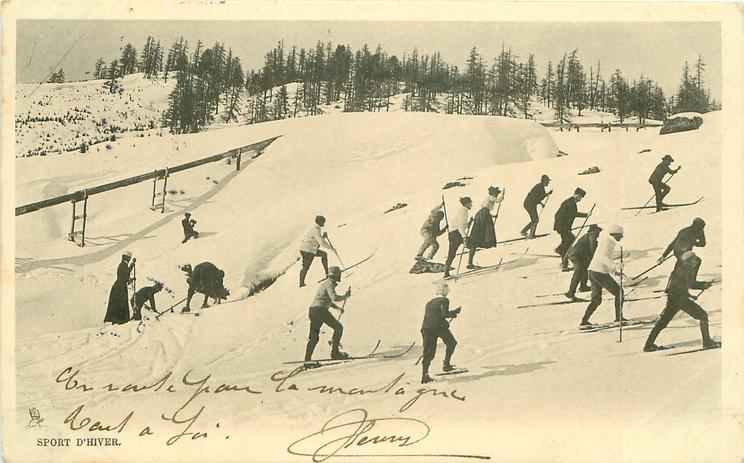many people walk right up ski slope