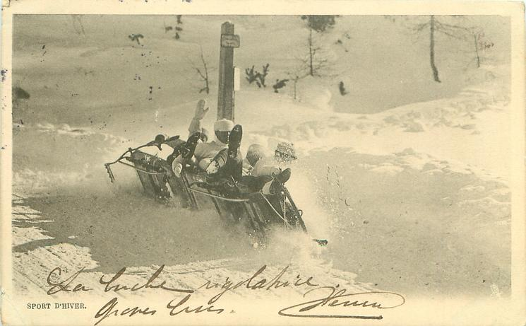 five man sleigh tips away from slope, is clearly going to end its run