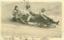 five man sleigh moves right, man at back upright, three men lean to front left of card, steersman pulls on cords